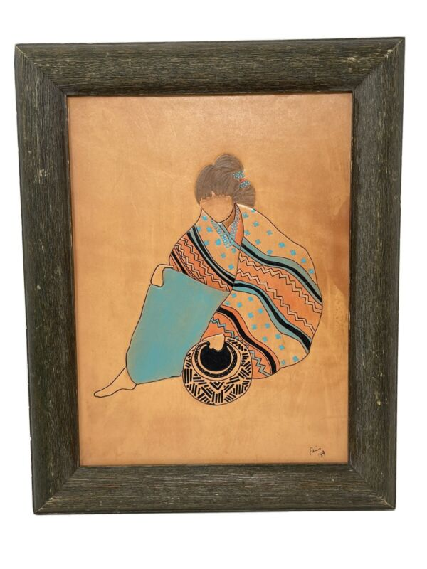 Geetha Pai Leather Pictorial Framed Native American Art Tooled Leather