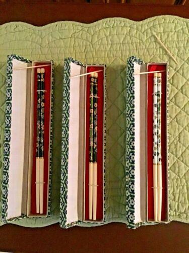 Vintage 3 PAIR Cloisonne Chinese Chopsticks in Original Boxes