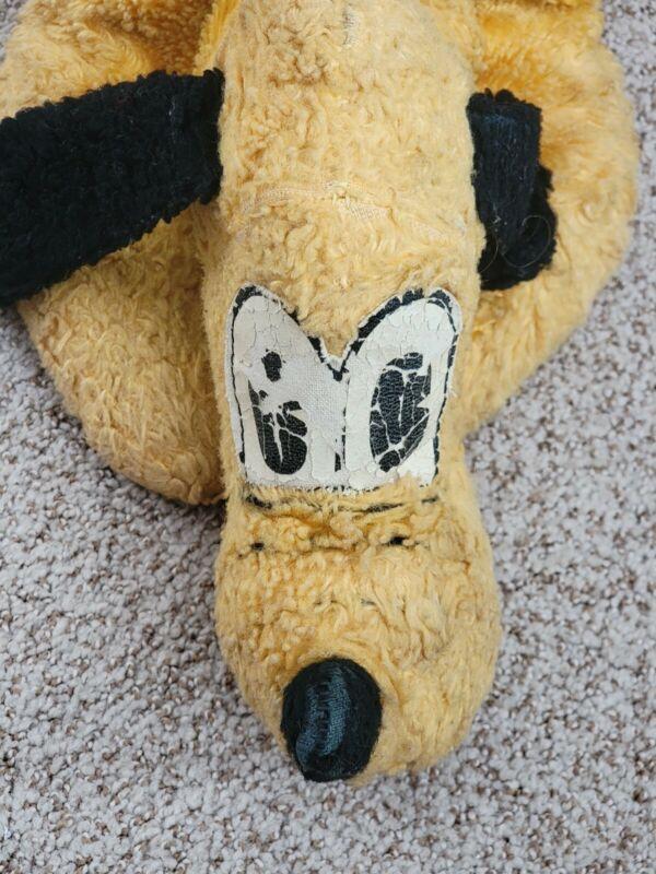 Vintage Antique Disney Pluto Character Plush Toy Doll w/ Zipper Compartment
