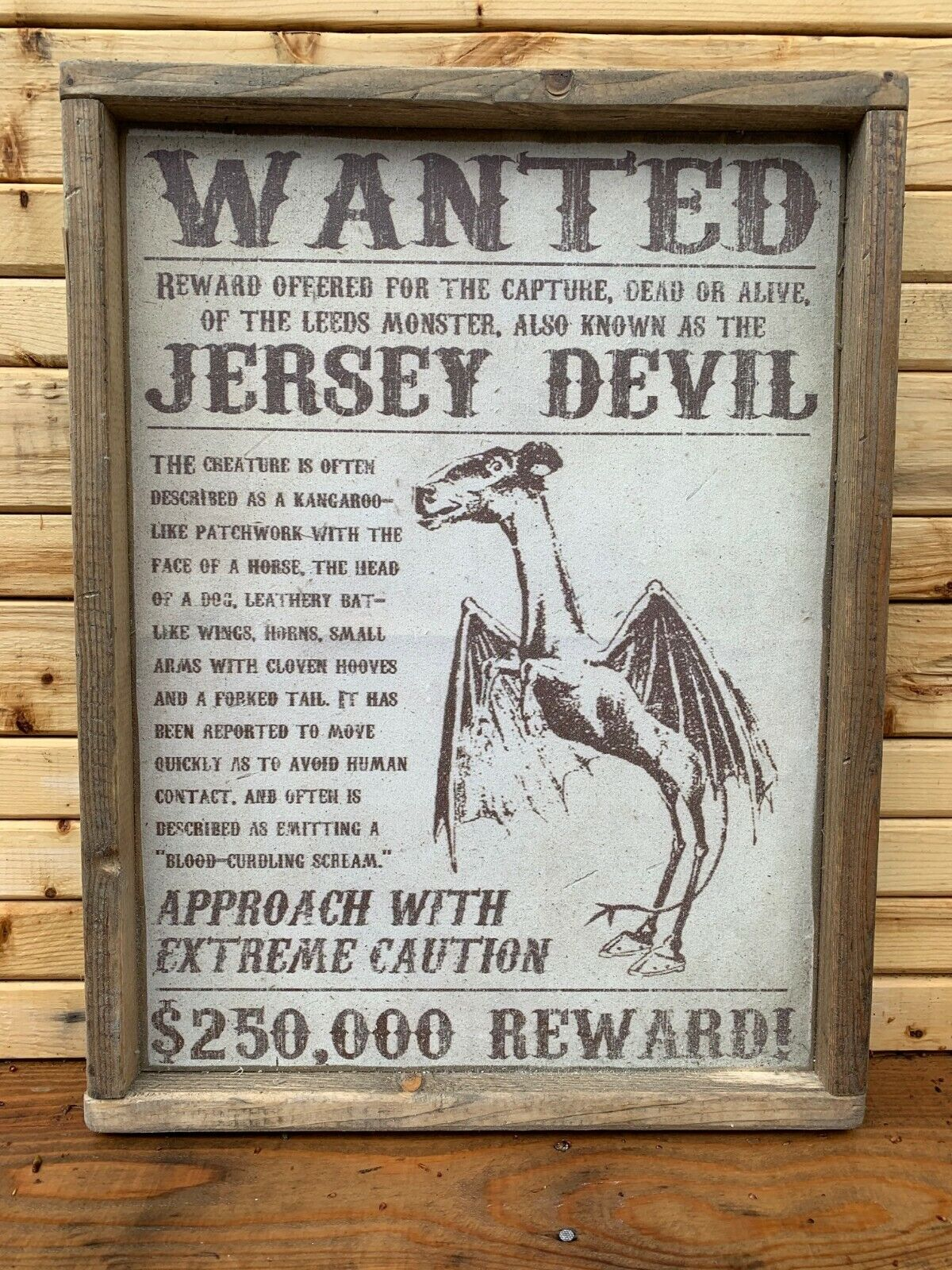 Antique Style Jersey Devil New Jersey Nautical Wood Sign 12x16
