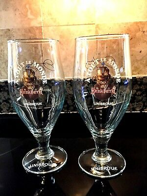 UNIBROUE 16OZ NW. PR OF A TOUT LE MONDE MEGA DETH TULIP SHAPED SIGNED GLASSES FS