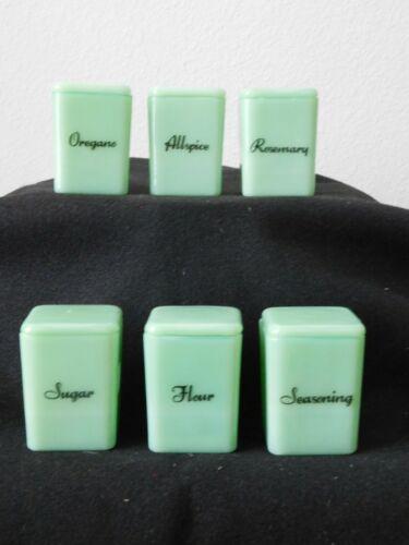 Jadeite Glass Spice Letter Pinch Jar & Lid Excellent Condition Jadite 6 pc SET