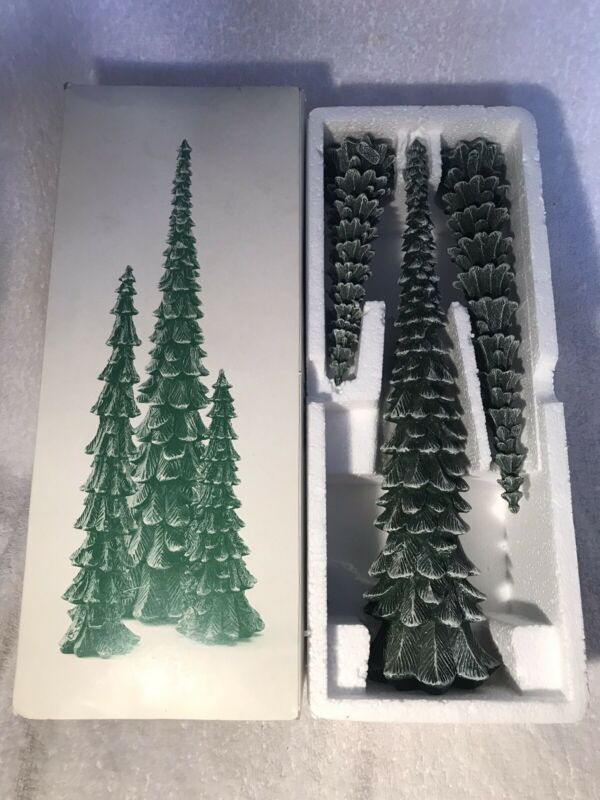 DEPT 56 VILLAGE PENCIL PINES COLD CAST PORCELAIN IN BOX  - SET OF 3 - #5246-9