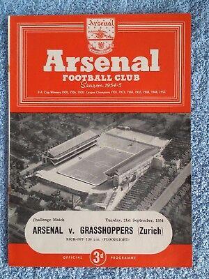 1954 - ARSENAL v GRASSHOPPERS PROGRAMME - FRIENDLY