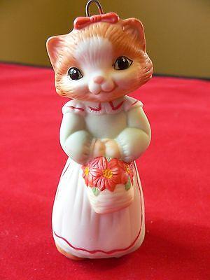 Hallmark Kitty Cat in Green dress Ornament Keepsake 1989 Vintage