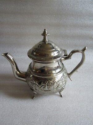 Rare Antique Moroccan Arabic Islamic Handmade Silver Alloy Tea Pot Kettle Signed