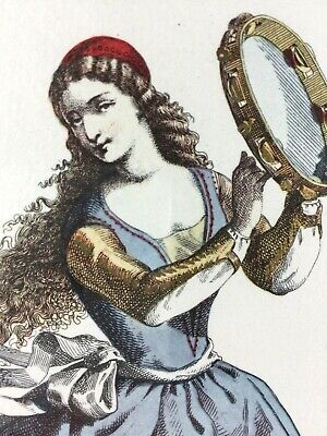 La Ballerina by Maurice Sand - Antique Framed Color Engraving Hand Painted (Maurice Sand)