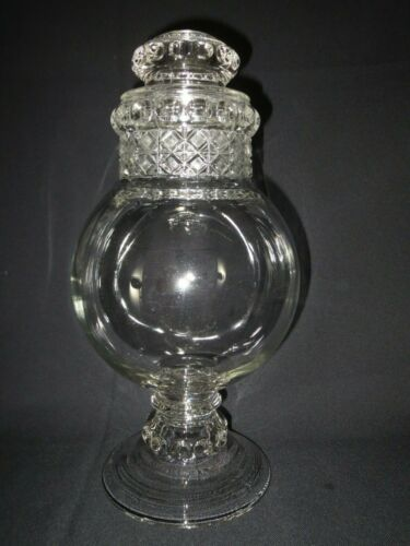 Antique Clear GLASS Patterned APOTHECARY CANDY JAR w/ Lid VINTAGE