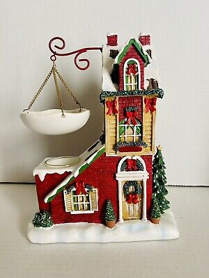 HTF YANKEE CANDLE WAX TART WARMER RED HOLIDAY HOUSE WINTER CHRISTMAS Retired