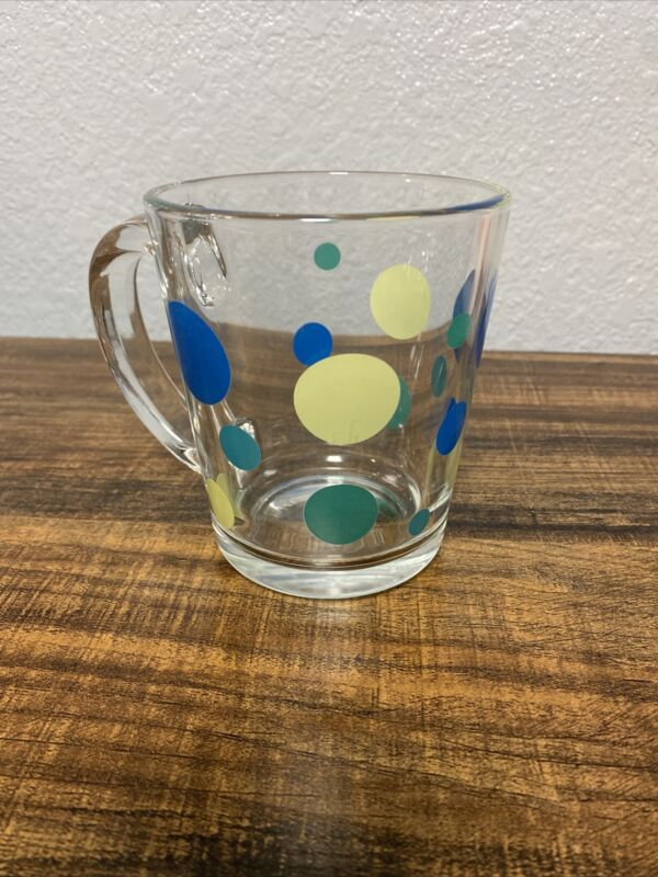 Vintage Libbey Green Blue Polka Dot Pint Glass Coffee Mug MCM EUC Retro
