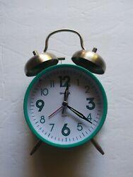 Sharp Twin Bell Loud Quartz Alarm Clock Back Light Retro Teal.