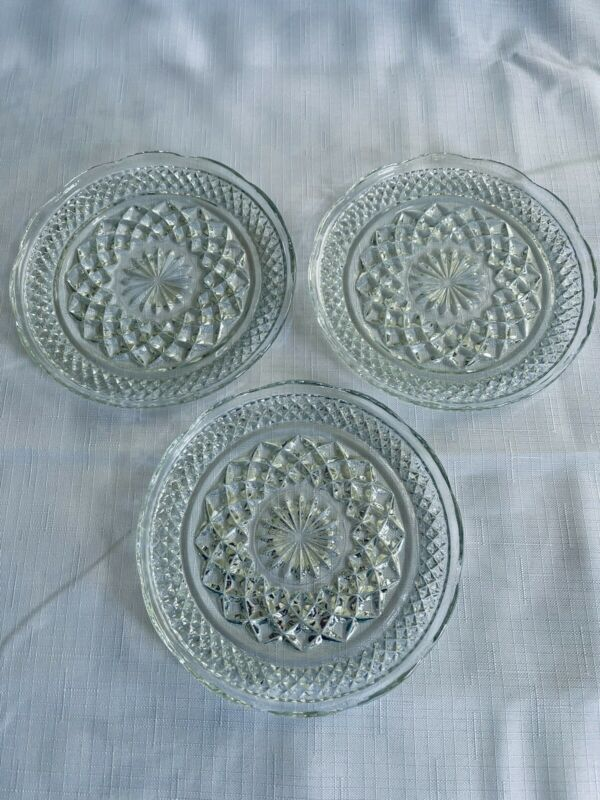"""Set of 3 Anchor Hocking WEXFORD 6"""" Bread & Butter Plates/Clear Pressed FREE SHIP"""