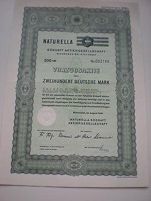 Deutschland - Naturella Südsaft AG   200 DM  1961  Vorzugsaktie   1/16