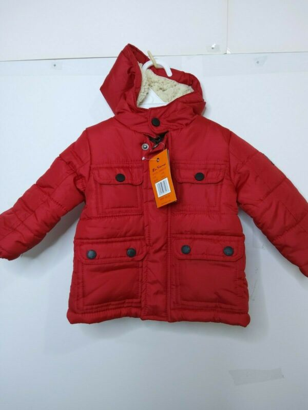 Ben Sherman Toddler Boys Puffer Hooded Jacket Size 12 Months Red MSRP$80