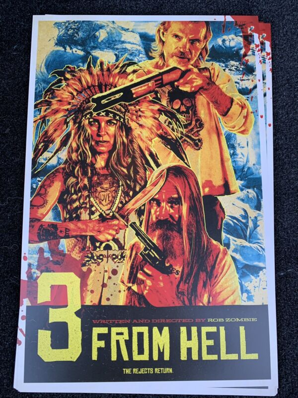 3 From Hell Poster Original Rob Zombie, Devils Rejects Sid Haig, Bill Mosley