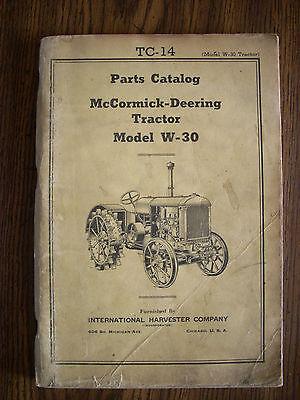 Ih Farmall International Mccormick W30 Parts Manual