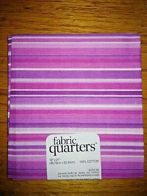Fabric Quarters 100% Cotton Pre Cut Fat Quarter FQ -  Pink Stripe