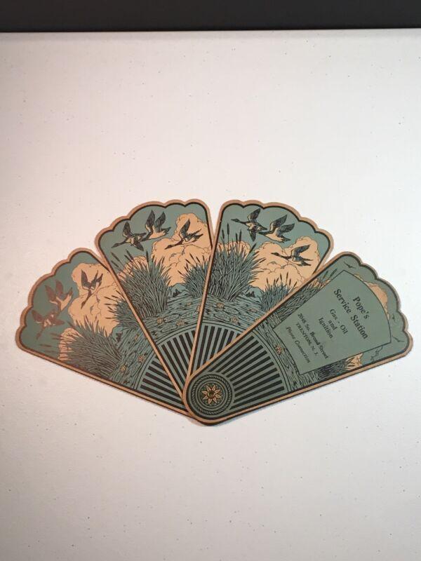Vintage Advertising 4 Panel Hand Fan - Trenton NJ Cardboard