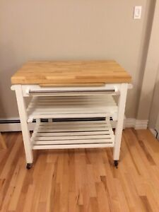 Butcher block kitchen cart/island