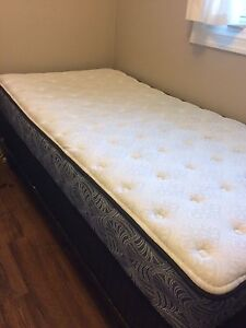 Twin bed with box spring and frame