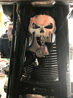 Polished Skull Bell Hanger / Mount for Motorcycle Harley Bolt & Ring - Motorcycle Mounting