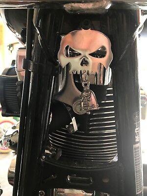 Polished Skull Bell Hanger / Mount for Motorcycle Harley Bolt & Ring Included