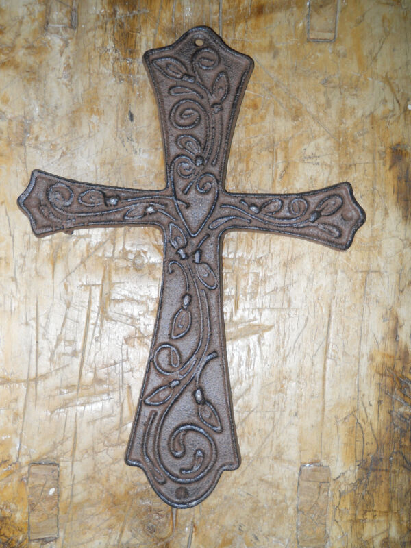 Cast Iron Victorian Style RELIGIOUS CROSS  Rustic Ranch Western Decor #16