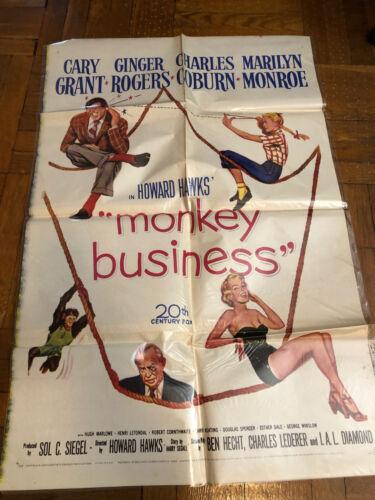 MARILYN MONROE MONKEY BUSINESS  ORIGINAL 1 SHEET US  MOVIE POSTER 1952