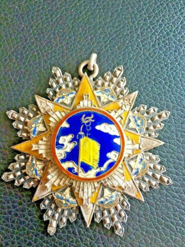 👍1940s CHINA CHINESE SILVER ENAMEL 8TH ORDER OF THE CLOUD & BANNER MEDAL 民国雲麾勛章