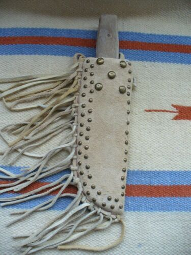 NATIVE AMERICAN BEADED LEATHER SHEATH WITH OLD COLONIAL KNIFE USA