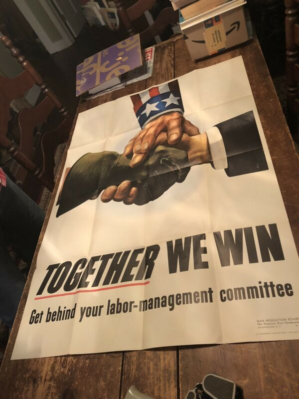 Large Original WWII War Poster, Together We Win, 1943, Labor and Management
