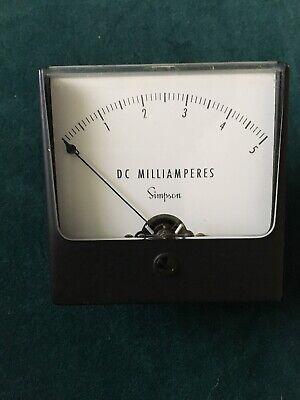 Vintage Simpson Milliamperes Dc Meter Gauge 0-5