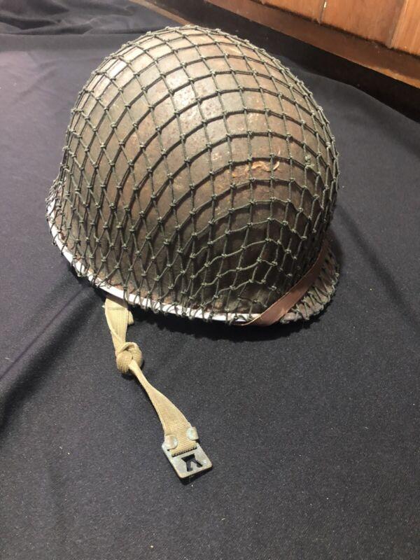 AUTHENTIC Complete WWII US M1 Helmet FSSB w/ Liner Net Both Chin Straps