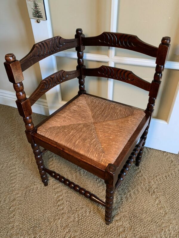 Antique Carved Wood Corner Chair
