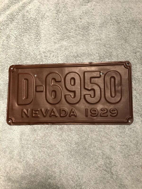 1929 Nevada Dealer License Plate D-6950