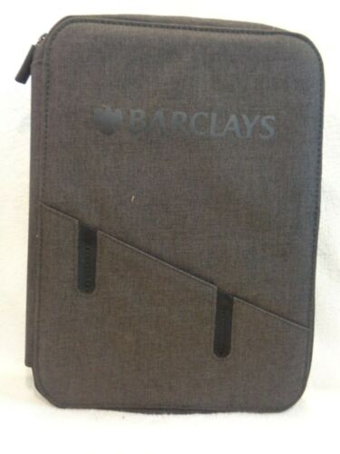 BARCLAYS  Powerbank Padfolio Business Full Zip Black Color New With Tags