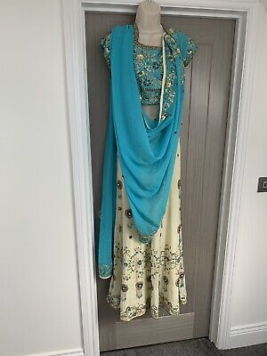 Three Piece Langha Wedding Party Bollywood Outfit Size 34 Beaded Cream Blue