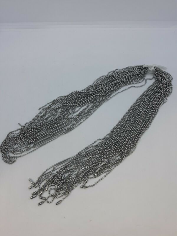 """NEW 30 Count 2.4mm 24"""" Silver Ball Chains for Necklaces Dogtags Etc"""