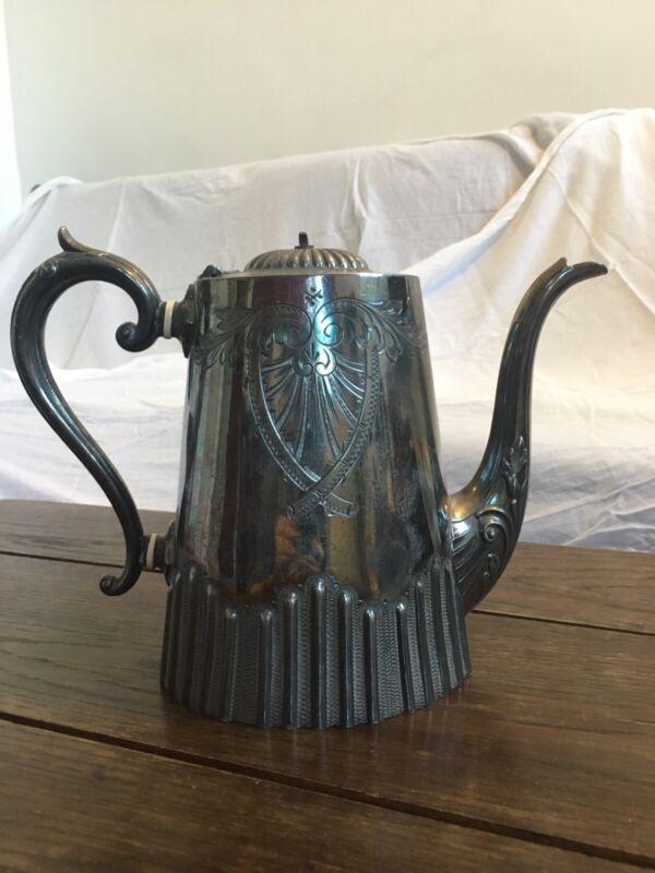 ANTIQUE TEA POT, SILVER ELECTROPLATED, 1887, VICTORIAN, CILINDRICAL, EMBOSSED