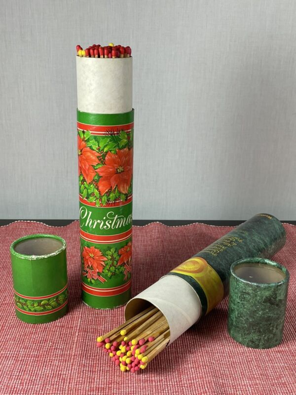 Lot 2 Vintage Hallmark & Northland FIREPLACE MATCH Sticks Christmas Holiday