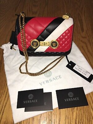 VERSACE Icon Chain Black/Red Quilted Medusa Bag w/Lock 1000% AUTHENTIC $2195 NWT