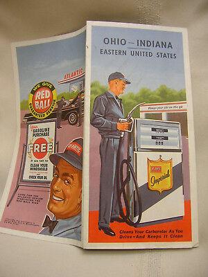 Vintage Map Ohio - Indiana Eastern United States Atlantic Imperial Gasoline