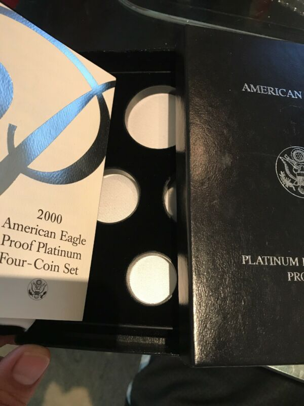 2000-W 4 Coin Proof Platinum American Eagle Box OGP & COA No Coins
