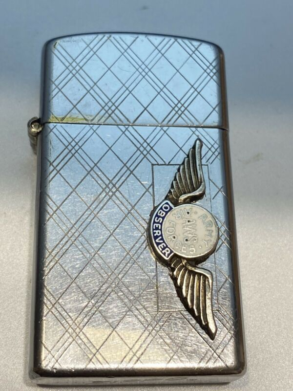 1958 Zippo Slim Lighter  - Army Air Force Observer AWS, Used Working Lighter.