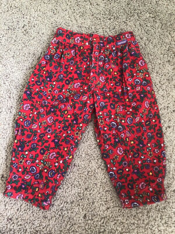 Vintage Oshkosh Red Floral Corduroy Bubble Pants Size 2T Made In USA
