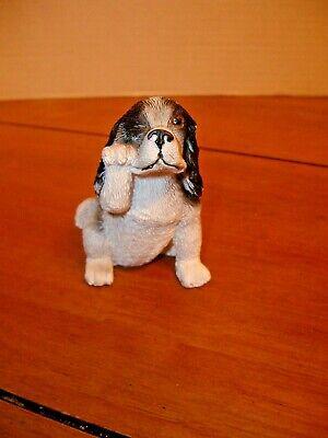 "COCKER SPANIEL Black & White DOG FIGURINE ~ Hand Painted ~ Resin ~ 3"" Small"