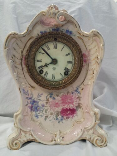 Antique Mantle Clock, Ansonia, Royal Bonn La Bonita, Porcelain early 1900