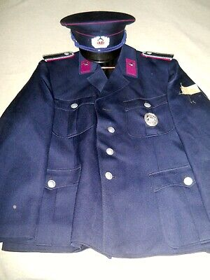 beautiful post war firefighter tunic w/ medal and cap.unissued ,mint cond . - Firefighter Tunic