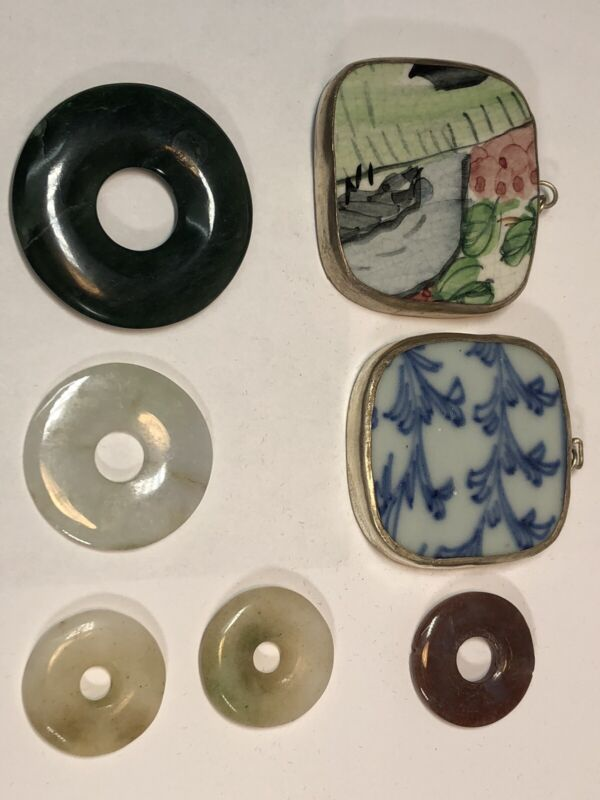 A Group Chinese Bi Jade And Ceramic Silver Mount Pendant