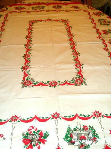 Vintage Christmas Tablecloth 48 x 62 Sleigh Wreath Bells Fireplace Holly